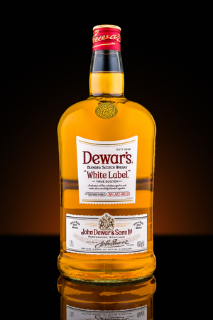 bacardi: Bottle of Dewars blended scotch whisky. Dewars White Label, created in 1899, has become the companys top-selling variation