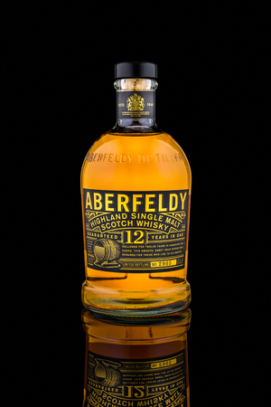 bacardi: Bottle of Aberfeldy single malt whisky aged 12 years. Aberfeldy is currently owned by John Dewar & Sons, a subsidiary of Bacardi group Editorial
