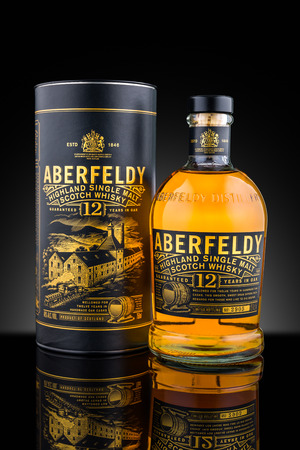 bacardi: Bottle and case of Aberfeldy single malt whisky aged 12 years. Aberfeldy is currently owned by John Dewar & Sons, a subsidiary of Bacardi group Editorial