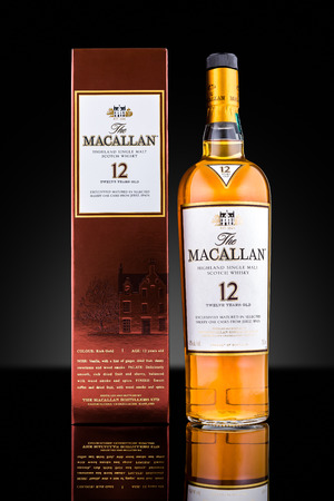 liquor: Bottle and case of Macallan single malt whisky aged 12 years. Macallan is the world�s 3rd largest-selling single malt and 2nd largest by value
