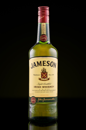 distillers: Bottle of Jameson Irish Whiskey. Jameson is by far the best selling irish whiskey in the world, with over 48 million bottles sold anually.