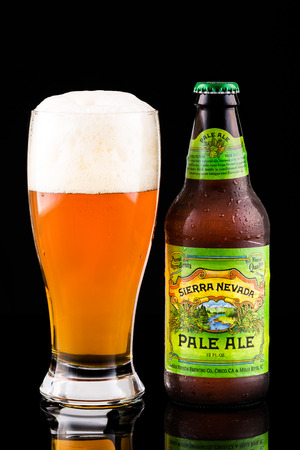 Sierra Nevada beer bottle and glass. Sierra Nevada's Pale Ale is the second best-selling craft beer in the United States