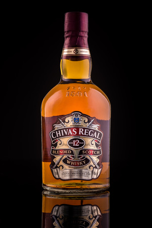 12 year old: Chivas Regal whisky bottle. Chivas Regal is the market-leading scotch whisky 12 years and above in Europe and Asia Pacific.