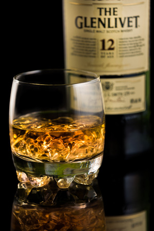 scotch whisky: Glass of Glenlivet single malt scotch whisky. The Glenlivet brand is the biggest selling single malt whisky in the USA and the 2nd biggest globally.