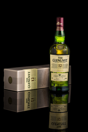 12 year old: Photo of a 12 year old Glenlivet single malt scotch whisky. The Glenlivet brand is the biggest selling single malt whisky in the USA and the 2nd biggest globally.