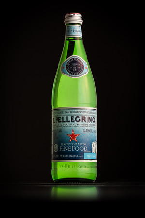 nestle: Photo of a San Pellegrino bottle imported in USA. San Pellegrino is an Italian brand of mineral water produced and bottled by Nestle