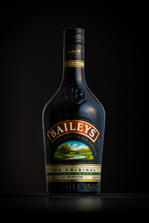 liqueur labels: Photo of a Baileys bottle. Baileys Irish Cream is an Irish whiskey and cream based liqueur owned by Diageo.