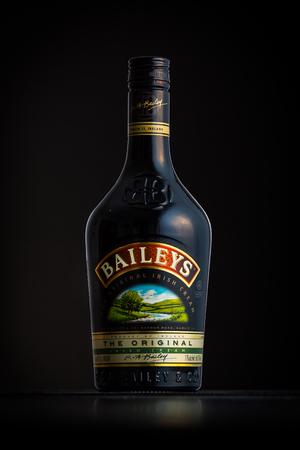 baileys: Photo of a Baileys bottle. Baileys Irish Cream is an Irish whiskey and cream based liqueur owned by Diageo.