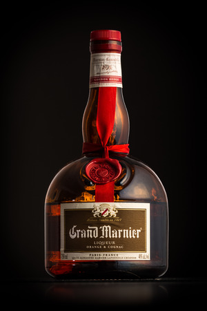 bitter orange: Photo of a Grand Marnier bottle. Grand Marnier Cordon Rouge is an orange-flavored cognac liqueur made of Cognac brandy, distilled essence of bitter orange and sugar. Editorial