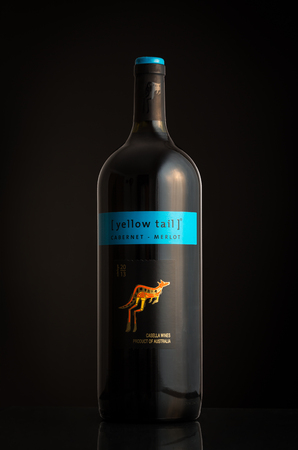 cabernet: Photo of an Yellow Tail Cabernet Merlot bottle. Yellow Tail is an Australian brand wine ranked among the most popular imported wines in USA.