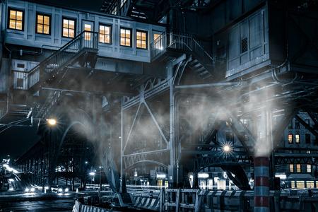 125e ??station pivot rue de banlieue, à Harlem, New York City rendu avec un effet cinématographique monochrome morose.