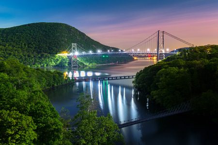 hudson river: Hudson River valley with Bear Mountain bridge illuminated by night, in New York state