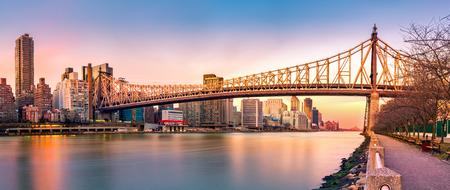 ed: (Ed Koch) Queensboro bridge panorama at sunset, as viewed from Roosevelt Island
