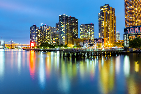 Long Island City skyline at dusk. LIC is the westernmost residential and commercial neighborhood of the NYC borough of Queens