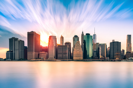 financial district: Financial District at sunset, in New York City Stock Photo