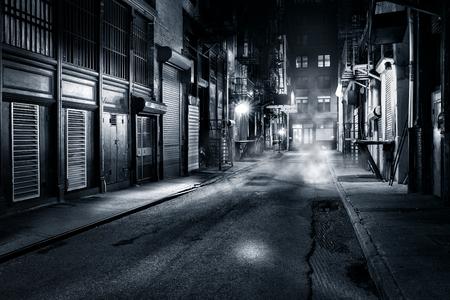Moody vista en blanco y negro de Cortlandt callejón por la noche, en el barrio chino, la ciudad de Nueva York