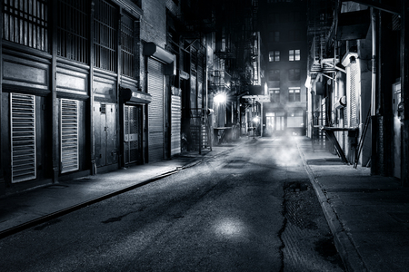 Moody monochrome view of Cortlandt Alley by night, in Chinatown, New York City