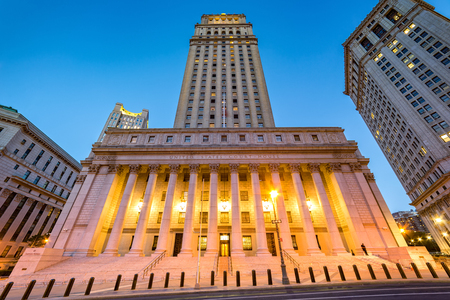civic center: The public building of United States Courthouse located in the Civic Center neighborhood of Lower Manhattan in New York City