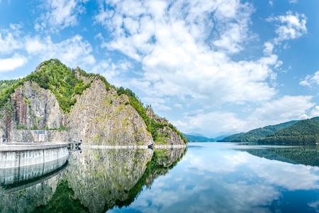 Vidraru dam and lake located in Fagaras mountains, Romania