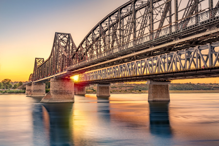 Anghel Saligny bridge spans the Danube near Cernavoda, Romania. When finished in 1895 it became the longest bridge in Europe and the 3rd longest in the world