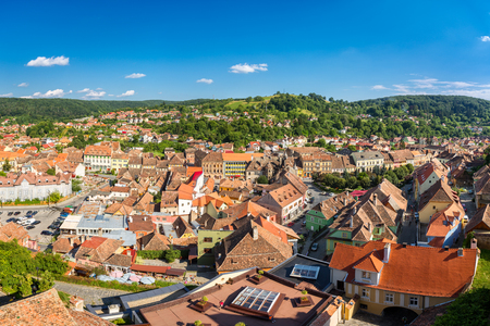 Aerial view of the old Sighisoara town, in Transylvania, Romania