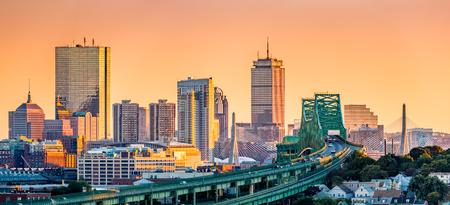 chelsea: Tobin bridge, Zakim bridge and Boston skyline panorama at sunset.