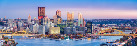 allegheny: Pittsburgh, Pennsylvania skyline at dusk. Located at the confluence of the Allegheny, Monongahela and Ohio rivers, Pittsburgh is also known as City of Bridges Stock Photo