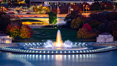 urban scenics: Point State Park in Pittsburgh, Pennsylvania and the iconic illuminated water fountain.