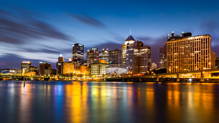 allegheny: Pittsburgh downtown skyline at dawn viewed from North Shore Riverfront Park across Allegheny River. Stock Photo