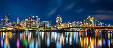 allegheny: Pittsburgh downtown skyline panorama by night viewed from Allegheny Landing, between Roberto Clemente and Andy Warhol bridges