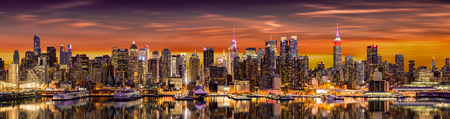 New York City panorama at sunrise. Banque d'images