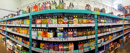 Craft beer aisle in a Bottle King store. More than 4,600 breweries are responsible for craft beer brands in the U.S. and more than 2,000 craft breweries are in the planning stages Editorial