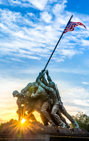 Iwo Jima memorial in Washington DC. The Memorial honors the Marines who have died defending the US since 1775. Stock Photo