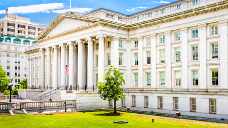 The Treasury Building à Washington DC Ce bâtiment public est un repère historique national et le siège du département américain du Trésor Banque d'images
