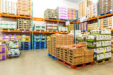 EAST HANOVER, NJ, USA - SEPTEMBER 27, 2104: Fresh Produce cold room in a Costco store. Costco Wholesale Corporation, a membership only warehouse club, is the second largest retailer in USA.