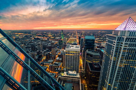 Philadelphia aerial perspective at sunset.