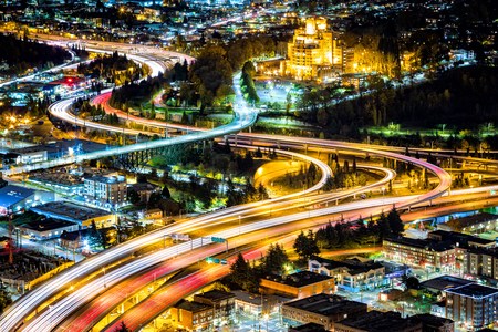 Aerial view of the I5 and I90 interchange in Seattle. Banque d'images - 100549424
