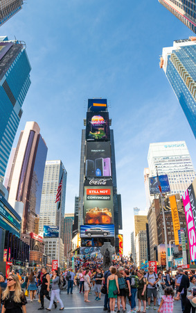 NEW YORK - MAY 2, 2018: Vertical panorama of skyscrapers in Times Square. Times Square is a major commercial intersection, tourist destination and entertainment center in the Midtown Manhattan Banque d'images - 108349827