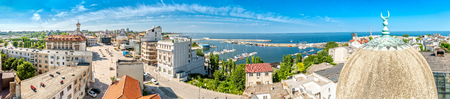 Aerial panorama of the old town in Constanta, Romania. Constanta, founded as a colony almost 2600 years ago, is the oldest attested city in Romania. Banque d'images - 108371754
