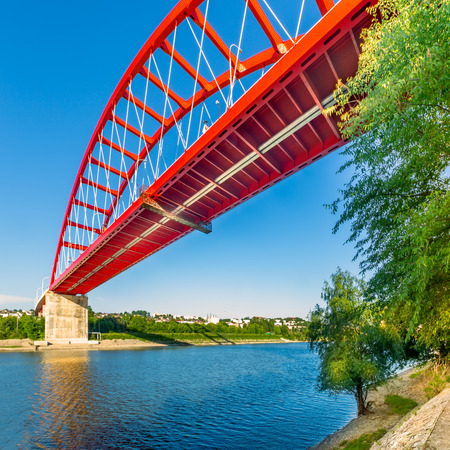 Saint Mary bridge in Cernavoda. The bridge connects the city and its railway station across Danube - Black Sea canal. Banque d'images - 108371760