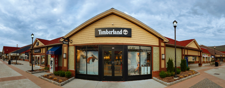 CENTRAL VALLEY, NY - MAY 4, 2018: Timberland Store in Woodbury Common Premium Outlet Mall. Timberland LLC is an American manufacturer of outdoors wear.