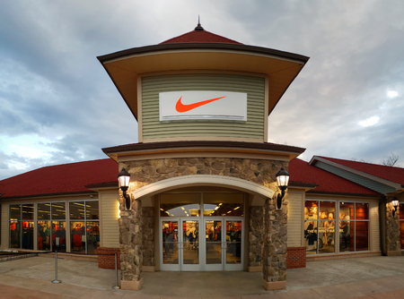 CENTRAL VALLEY, NY - MAY 4, 2018: Nike store in Woodbury Common Premium Outlet Mall. Nike is worlds largest supplier of athletic shoes and apparel and a major manufacturer of sports equipment.