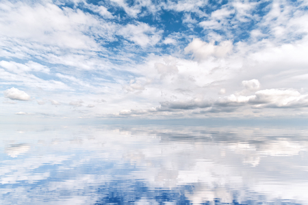 Cloudscape reflection where the sky meets the water