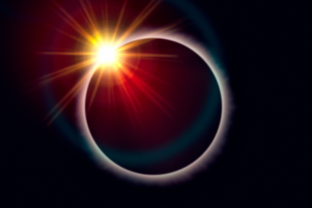 Total solar eclipse. Sunbeams burst behind the moon and create the diamond ring effect Banque d'images - 108371767