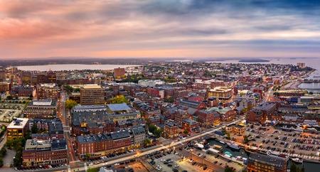 Aerial panorama of Portland, Maine at dusk 免版税图像
