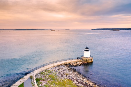 Portland Breakwater Light in Maine, also called Bug Light, is a small lighthouse in South Portland, Maine Stock fotó - 115066713