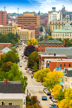 Aerial view of downtown Portland, Maine along Congress street Banque d'images - 115066715