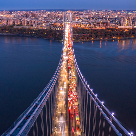 Aerial view of the evening rush hour traffic on George Washington Bridge, as viewed from New Jersey