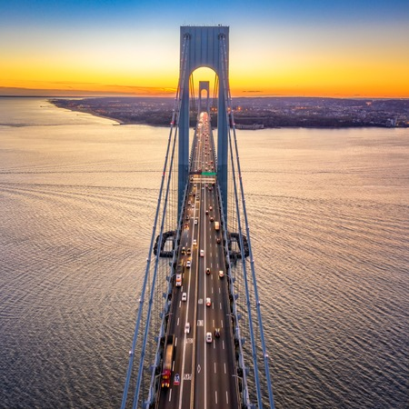 Aerial view of the evening rush hour traffic on Verrazzano Narrows Bridge, as viewed from Brooklyn, NY