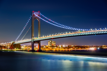 Verrazzano Narrows Bridge by night, as viewed from Staten Island, NY